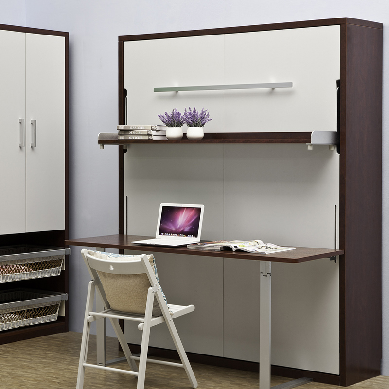Stylish Murphy wall bed with desk