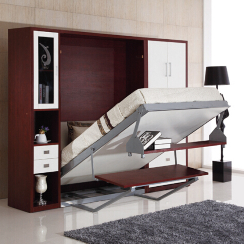 Folding wall bed with desk