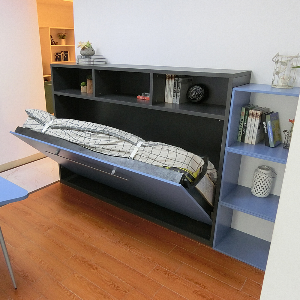 Horizontal space saving wall bed