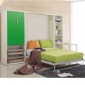 Blanco plegable desplegable vertical cama de pared Murphy con escritorio plegable