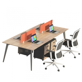 China Supplier Office Furniture Modern Design Simple Style Wooden Top Steel Frame Work Table